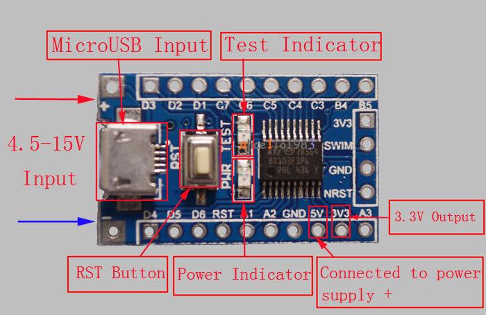 Generic STM8S103F3 breakout board  stm8blue   Sduino